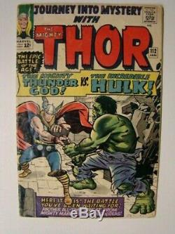 1965 Journey into Mystery #112 Thor vs The Hulk Battle Cover with Lodi Origin VG