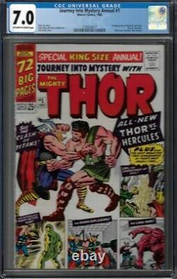 CGC 7.0 JOURNEY INTO MYSTERY ANNUAL #1 1ST APPEARANCE HERCULES & ZEUS 1965 OWithW