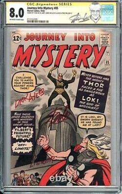 Cgc 8.0 Ss 3x Lee Journey Into Mystery #85 Ow-w Pages Thor 1st Appearance Loki