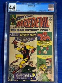 DAREDEVIL #1 CGC 4.5 VG+ Very Good Amazing Spider-Man and 1st Appearance 1964