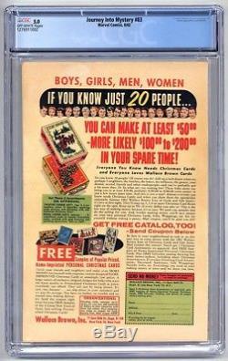 ESZV002. Journey into Mystery #83 CGC 5.0 VG/FN (1962) 1st App of THOR \\