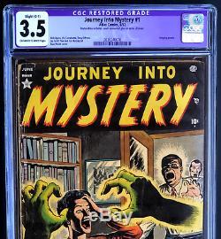 JOURNEY INTO MYSTERY #1 (Atlas 1952) CGC 3.5 OW-W Restored Scarce Pre-Code