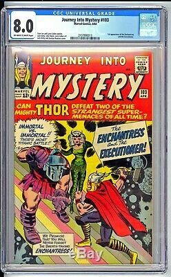 JOURNEY INTO MYSTERY #103 CGC 8.0 VF KEY! 1ST ENCHANTRESS! NICE OWithW PAGES