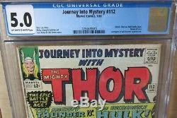 JOURNEY INTO MYSTERY #112, CGC 5.0, THOR vs HULK, ORIGIN of LOKI, AVENGERS App