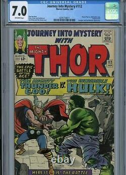 JOURNEY INTO MYSTERY #112 CGC 7.0 THOR / HULK Battle Cover