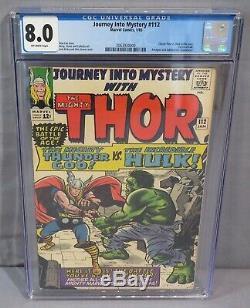 JOURNEY INTO MYSTERY #112 (Kirby Thor vs Hulk Classic Cover) CGC 8.0 Marvel 1965