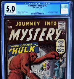 JOURNEY INTO MYSTERY #62 (1960) CGC 5.0 1ST HULK PROTOTYPE! Xemnu Titan