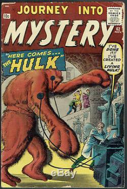 JOURNEY INTO MYSTERY 62 VG-/3.5 Hulk prototype issue