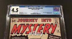 JOURNEY INTO MYSTERY #83 CGC 4.5 (8/62) OWithW Great Colors Unpressed 5.0