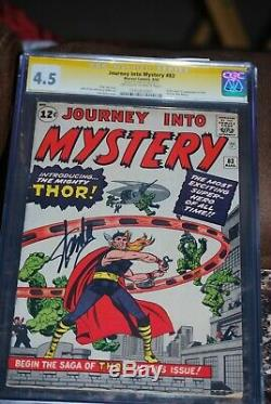 JOURNEY INTO MYSTERY #83 CGC 4.5 OW- WHITE PAGES 1ST THOR Signed Stan Lee