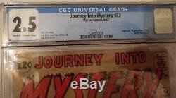 JOURNEY INTO MYSTERY #83 (Thor 1st app & origin) CGC 2.5 1962 Marvel Comics