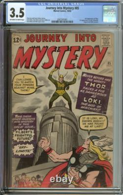 JOURNEY INTO MYSTERY #85 CGC 3.5 OWithWH PAGES // 1ST APP LOKI + 3RD APP THOR 1962