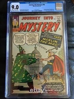 JOURNEY INTO MYSTERY #96 CGC VF/NM 9.0 OW-W Kirby cvr, Ditko art JFK cameo