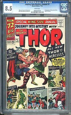 JOURNEY INTO MYSTERY ANNUAL 1 CGC 8.5 White Pages! 1st Hercules! Eternals film