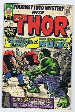 Journey Into Mystery 112 4.0 4.5 Thor Vs Hulk Nice Gloss Ow Page Kirby Wk1