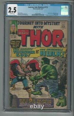 Journey Into Mystery #112 CGC 2.5 Classic Hulk vs. Thor Cover Marvel Comics