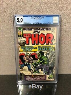 Journey Into Mystery #112 CGC 5.0 OW Thor vs Hulk Battle 1965 Marvel Comics