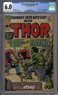 Journey Into Mystery #112 CGC 6.0 (C-OW) Classic Hulk vs Thor