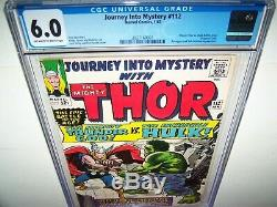 Journey Into Mystery 112 CGC 6.0 HULK vs THOR Classic Cover /Origin Loki Key Ish