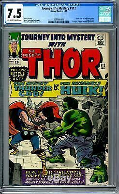 Journey Into Mystery #112 CGC 7.5 (OW-W) Classic Thor Vs Hulk