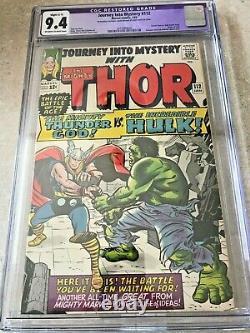 Journey Into Mystery 112 CGC 9.4 Rare in High Grade! Thor vs Hulk Classic Battle