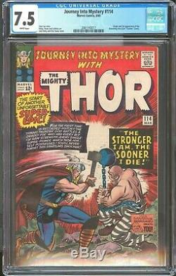 Journey Into Mystery 114 / CGC Blue 7.5 White Pages / Key Absorbing Man