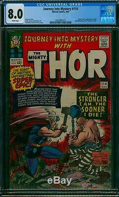 Journey Into Mystery #114 Cgc 8.0 Vf+ 1st Absorbing Man Origin 1965 White Pages