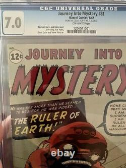 Journey Into Mystery #81 Cgc 7.0 From The Collection Of Nicolas Cage! Vhtf