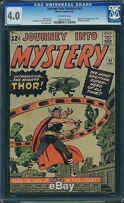 Journey Into Mystery #83 CGC 4.0 1962 1st Thor! Avengers! Hulk! E6 993 cm clean