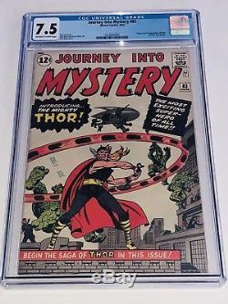 Journey Into Mystery 83 CGC 7.5 VF- OWW Marvel 1962 Origin & 1st App. Thor