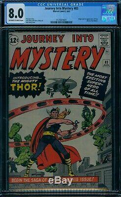 Journey Into Mystery 83 CGC 8.0 1st Thor owithw pages