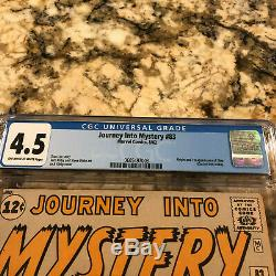 Journey Into Mystery #83 Cgc 4.5 Ow- White Pages 1st Thor Avengers Mcu Movie Hot