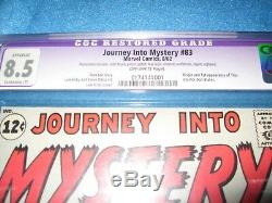Journey Into Mystery # 83 cgc 8.5 First Thor appearance Vintage comic book rare