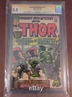 Journey into Mystery 112 CGC SS 5.5 1st Thor vs Hulk Signed by Stan Lee