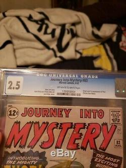 Journey into Mystery 83 CGC. 2.5! Origin and 1st Appearance of Thor