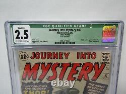 Journey into Mystery #83 CGC Qualified Grade 2.5 1962 Marvel Comics