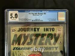 Journey into Mystery #86 CGC 5.0 Marvel Comics Thor November 1962 1st Zarrko