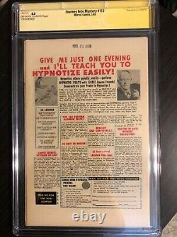 Journey into Mystery(Thor) #112 vs Hulk! CGC 6.0 SS Signed by Stan Lee