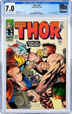 Thor #126 (1966) CGC 7.0, Mint Case! Key! THOR 1st ISSUE