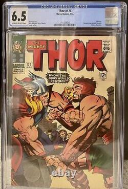 Thor #126 CGC 6.5 OWithW Pages, Mint Case! Key 1st Issue Thor Vs Hercules 1966