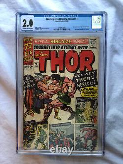 Thor Journey Into Mystery Annual #1 CGC 2.0 OWithWP 1st Appearance Hercules Zeus